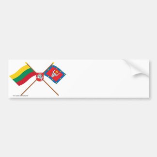 Lithuania and Kauno County Crossed Flags with Arms Bumper Sticker
