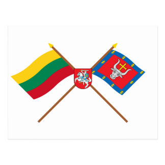 Lithuania and Kauno County Crossed Flags with Arms Postcard