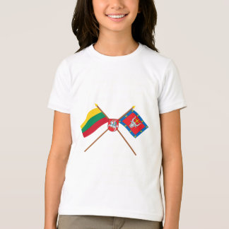 Lithuania and Kauno County Crossed Flags with Arms T-Shirt