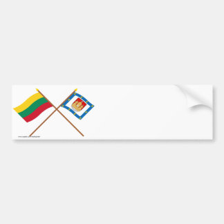 Lithuania and Klaipeda County Crossed Flags Bumper Stickers