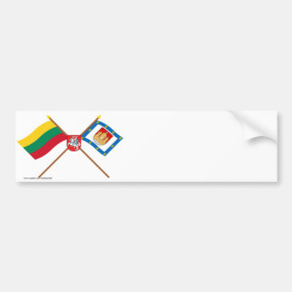 Lithuania and Klaipeda County Flags with Arms Bumper Sticker