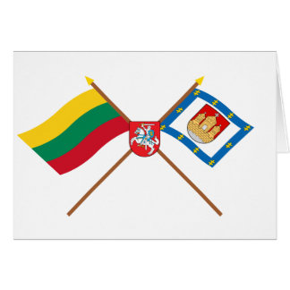 Lithuania and Klaipeda County Flags with Arms Greeting Cards