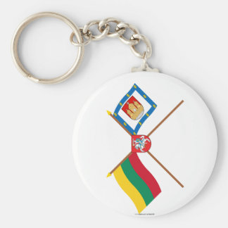 Lithuania and Klaipeda County Flags with Arms Keychain