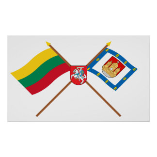 Lithuania and Klaipeda County Flags with Arms Poster