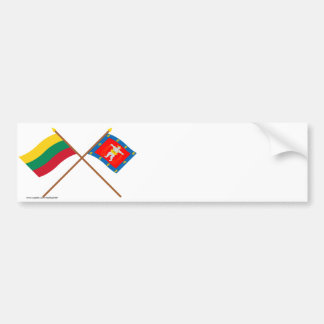 Lithuania and Marijampole County Crossed Flags Bumper Sticker