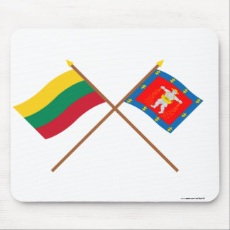 Lithuania and Marijampole County Crossed Flags Mouse Pad