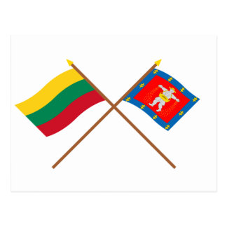 Lithuania and Marijampole County Crossed Flags Postcard
