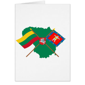 Lithuania and Marijampole County Flags Arms Map Cards