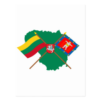 Lithuania and Marijampole County Flags Arms Map Postcard