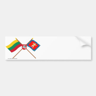 Lithuania and Marijampole County Flags with Arms Bumper Sticker