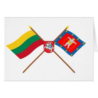 Lithuania and Marijampole County Flags with Arms Cards