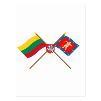 Lithuania and Marijampole County Flags with Arms Postcard