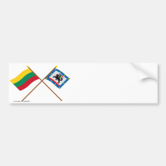 Lithuania and Panevezys County Crossed Flags Bumper Sticker
