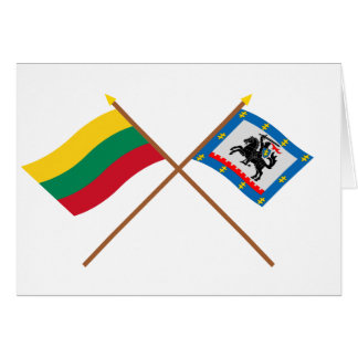 Lithuania and Panevezys County Crossed Flags Greeting Card