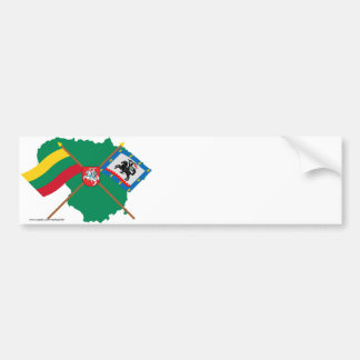 Lithuania and Panevezys County Flags, Arms, Map Bumper Stickers