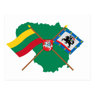 Lithuania and Panevezys County Flags, Arms, Map Postcard