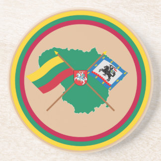 Lithuania and Panevezys County Flags, Arms, Map Sandstone Coaster