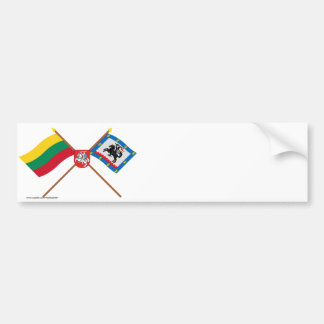 Lithuania and Panevezys County Flags with Arms Bumper Stickers