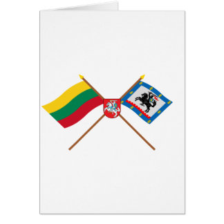 Lithuania and Panevezys County Flags with Arms Greeting Card