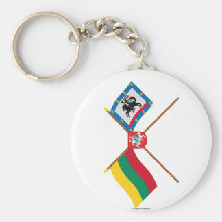Lithuania and Panevezys County Flags with Arms Keychain