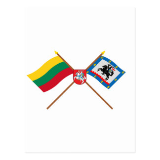 Lithuania and Panevezys County Flags with Arms Postcards