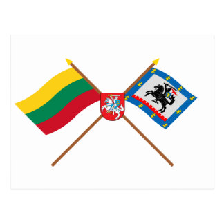 Lithuania and Panevezys County Flags with Arms Postcard