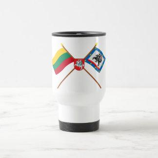 Lithuania and Panevezys County Flags with Arms Travel Mug