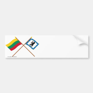Lithuania and Siauliai County Crossed Flags Bumper Stickers