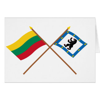 Lithuania and Siauliai County Crossed Flags Cards