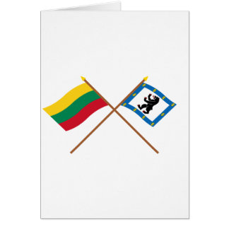 Lithuania and Siauliai County Crossed Flags Greeting Cards