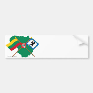 Lithuania and Siauliai County Flags, Arms, Map Bumper Sticker