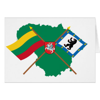 Lithuania and Siauliai County Flags Arms Map Greeting Cards