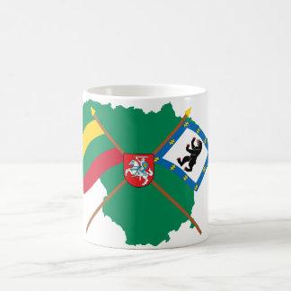 Lithuania and Siauliai County Flags, Arms, Map Coffee Mug