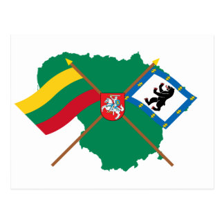 Lithuania and Siauliai County Flags, Arms, Map Postcard
