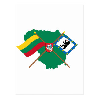 Lithuania and Siauliai County Flags Arms Map Post Cards