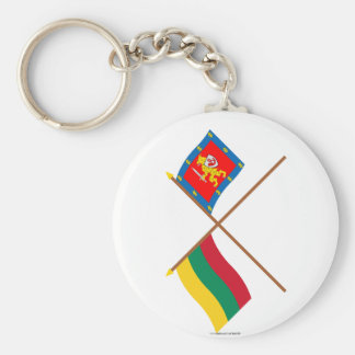 Lithuania and Taurage County Crossed Flags Keychain