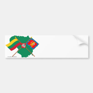 Lithuania and Taurage County Flags, Arms, Map Bumper Sticker
