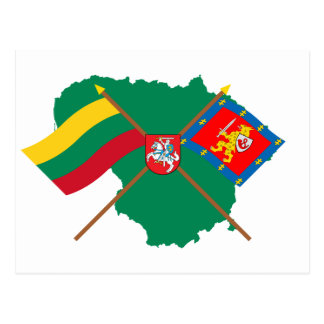 Lithuania and Taurage County Flags, Arms, Map Postcard
