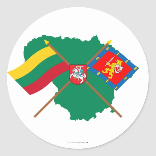 Lithuania and Taurage County Flags, Arms, Map Classic Round Sticker