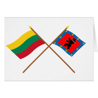 Lithuania and Telsiai County Crossed Flags Greeting Card