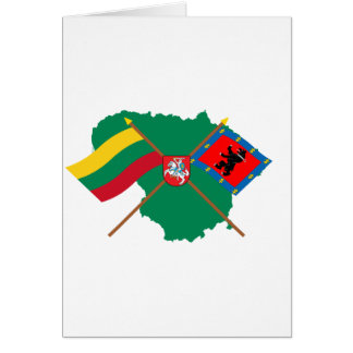 Lithuania and Telsiai County Flags Arms Map Greeting Card