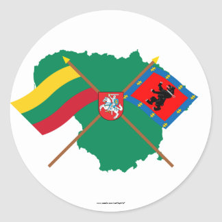 Lithuania and Telsiai County Flags, Arms, Map Classic Round Sticker
