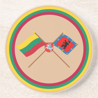 Lithuania and Telsiai County Flags with Arms Drink Coaster