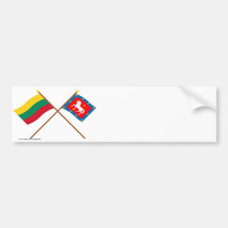 Lithuania and Utena County Crossed Flags Bumper Stickers