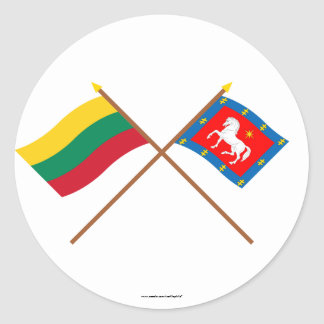 Lithuania and Utena County Crossed Flags Classic Round Sticker