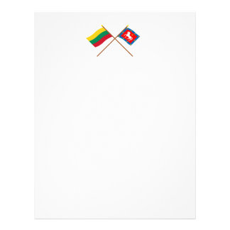 Lithuania and Utena County Crossed Flags Letterhead