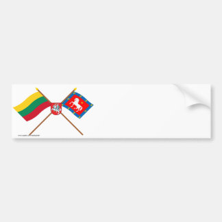 Lithuania and Utena County Crossed Flags with Arms Bumper Sticker