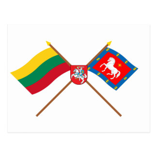 Lithuania and Utena County Crossed Flags with Arms Postcard