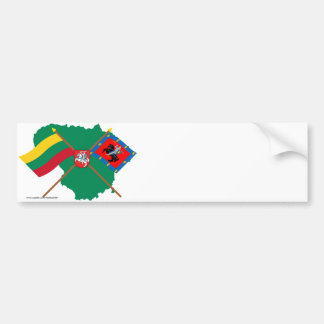Lithuania and Vilnius County Flags, Arms, Map Bumper Stickers