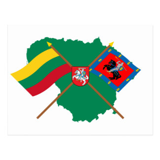 Lithuania and Vilnius County Flags, Arms, Map Postcard